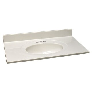 "Design House 552794 25"" Marble Drop-In Vanity Top with Integrated Sink and 3 Fau - White on White"