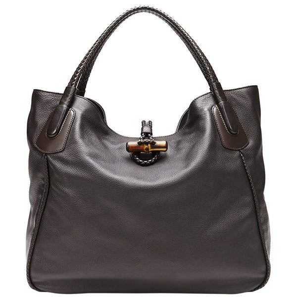 1cb5841d97a005 Gucci Women's Dark Brown Leather Large Hip Bamboo Tote Bag 338978 2164