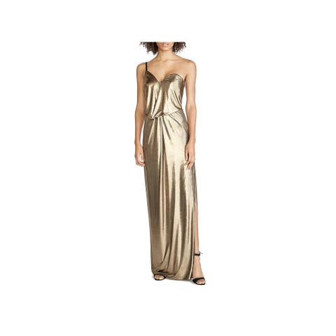 Halston Heritage Womens Evening Dress Metallic One Shoulder - Bronze