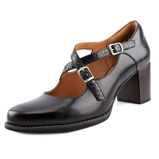 Clarks Narrative Tarah Presley Women Round Toe Leather Black Heels