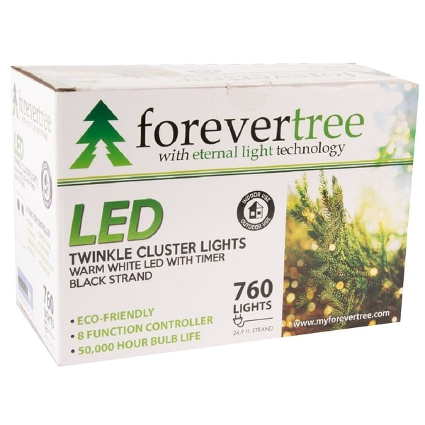 Forever Tree760 LED Twinkle Cluster Warm White Lights w Black Wire. Opens flyout.
