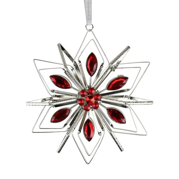 "5"" Vintage Silver Snowflake with Red Gemstones Christmas Ornament"