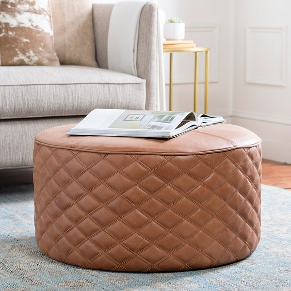Monica Leather Quilted 28-inch Round Ottoman. Opens flyout.