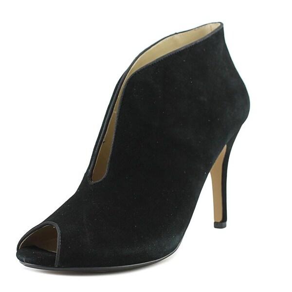 Adrienne Vittadini Grandeur Women Peep-Toe Suede Black Bootie