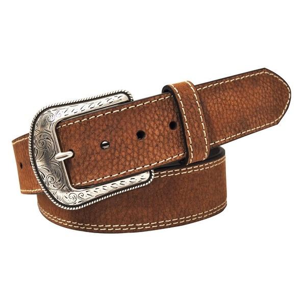 G-BAR-D Western Belt Mens Milled Pebble Grain Stitch Brown