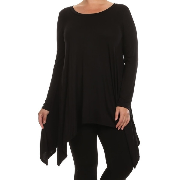 2bbfe690fea91 Shop Women Plus Size Long Sleeve Asymmetrical Hem Casual Tunic Top Shirt  Black - Free Shipping On Orders Over  45 - Overstock - 17818685