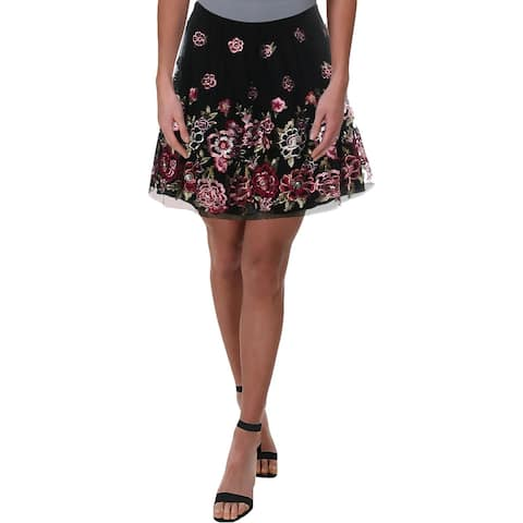 City Studio Womens A-Line Skirt Mesh Embroidered - 7