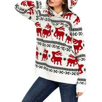 QZUnique Women Hoodie Ugly Christmas Sweater Long Vintage Fun Knit Pullover