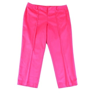 DESIGNER NEW Neon Pink Women's Size 1X Plus Slim Leg Seamed Dress Pants