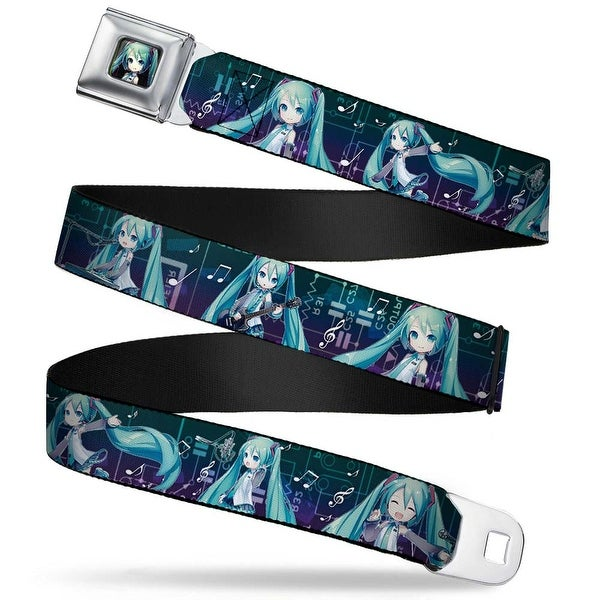 Chibi Hatsune Miku Pose Full Color Blue Purple Fade Chibi Hatsune Miku Seatbelt Belt
