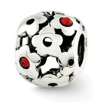 Sterling Silver Reflections Red Swarovski Elements Flowers Bead (4mm Diameter Hole)