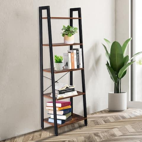 5 Tiers Industrial Ladder Shelf, Vintage Bookshelf, Storage Rack Shelf