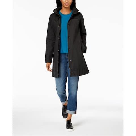 Eileen Fisher Womens Hidden Hood Jacket, Black, Large
