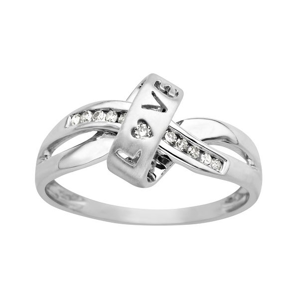 'Love' Ring with Diamonds in 10K White Gold
