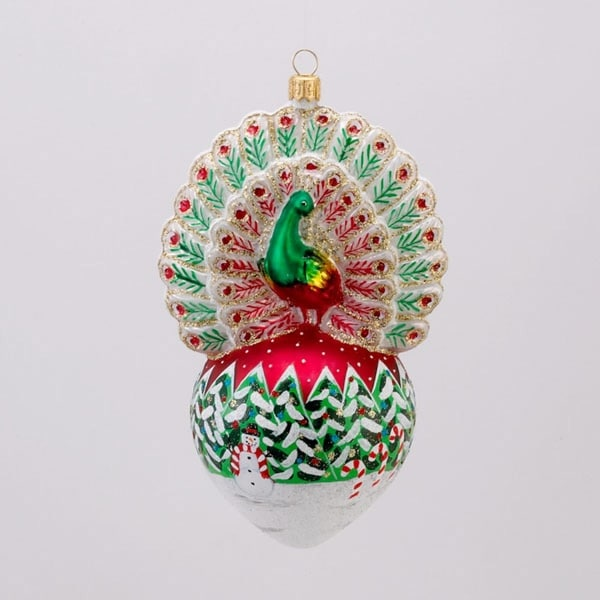 "David Strand Designs Glass Proud Peacock Snowfall Christmas Ornament 6"" - RED"