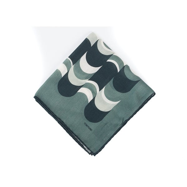Tom Ford Men's Green Abstract Waves Silk Pocket Square - One Size