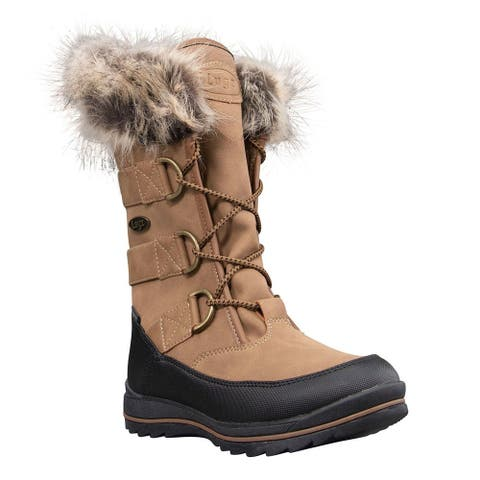 Lugz Tundra Faux Fur Lace Up Womens Boots Mid Calf - Beige