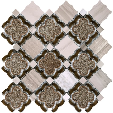 TileGen. Crushed Flower Random Sized Glass and Ceramic Mosaic Tile in Beige/Brown Wall Tile (10 sheets/7.7sqft.)