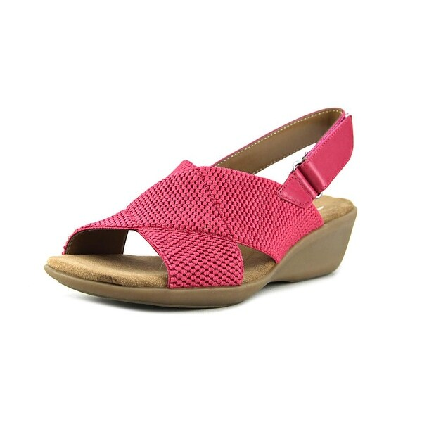 Aerosoles Badlands Women Open Toe Canvas Pink Wedge Sandal