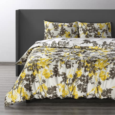 Exclusive Fabrics Ashley Yellow Cotton Double Slub Linen Weave Reversible Duvet Set
