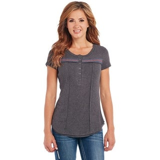 Cowgirl Up Western Shirt Womens S/S Henley Heather Gray