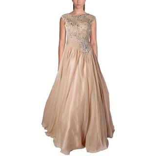 Mac Duggal Womens Chiffon Embellished Formal Dress