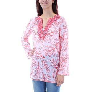 MICHAEL KORS $175 Womens New 1499 Red Embroidered Long Sleeve Tunic Top M B+B