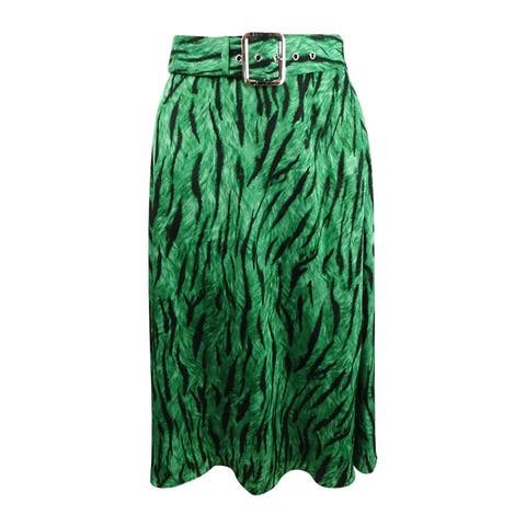 INC International Concepts Women's Belted Printed Midi Skirt - Photo Animal