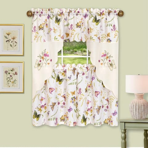 Enchanted Embellished Tier and Swag Kitchen Curtain Set, Purple, 58x36 Inches