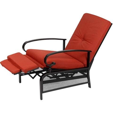 SUNCROWN Outdoor Patio Adjustable Metal Recliner Lounge Chair