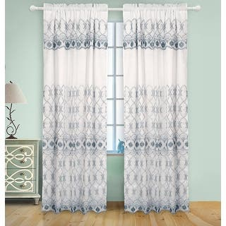 Josephine Embroidery Rod Pocket Panel With Attached Valence And Backing White Skyblue 55x90