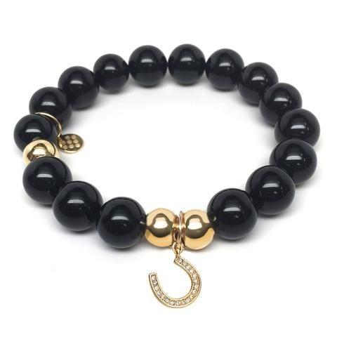 Julieta Jewelry Horseshoe Charm Black Onyx Bracelet