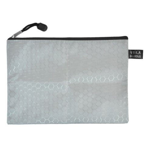 Unique Bargains Office Stationery Hexagon Pattern A5 Document File Paper Holder Zipper Bag Gray