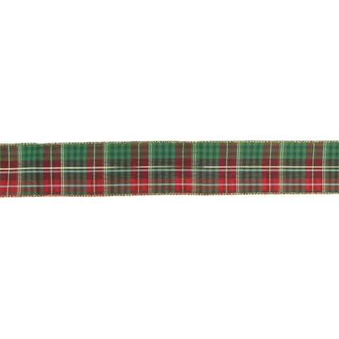 """Red, Green and Gold Plaid Wired Christmas Ribbon 2.5"""" x 16 Yards"""