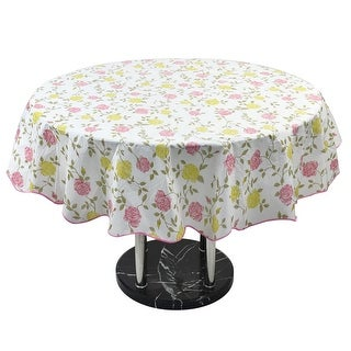 Home Picnic Round Bi-color Rose Pattern Tablecloth Table Cloth Cover 60 Inch