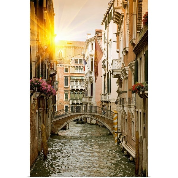 """""""Buildings and bridge on urban canal, Venice, Italy"""" Poster Print"""