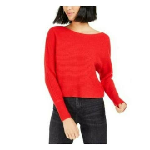 BAR III Womens Red Long Sleeve Off Shoulder Sweater Size XL