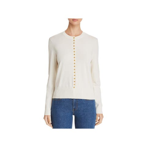 Tory Burch Womens Pullover Sweater Button-Trimmed Long Sleeve - L