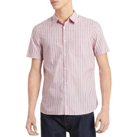 Calvin Klein Mens Big & Tall Button-Down Shirt Striped Collared - High Risk Red - XLT