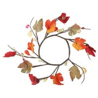 "6.5"" Fall Foliage Grape Leaves, Twigs and Beads Autumn Wreath – Unlit - brown"