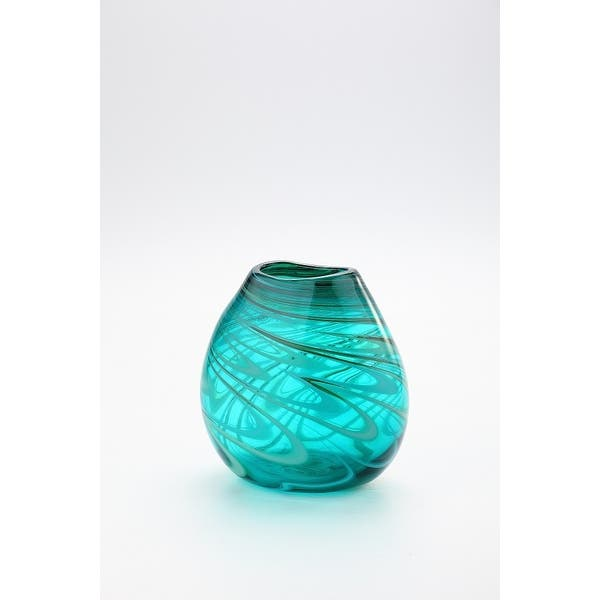 8 5 Blue And Green Swirled Hand Blown Glass Table Top Vase On Sale Overstock 28682586
