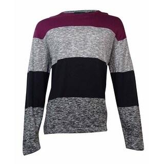 DKNY Jeans Men's Striped Crew-Neck Sweater (Ruby, XXL) - Ruby