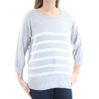 Womens Gray White Striped 3/4 Sleeve Jewel Neck Hi-Lo Sweater Size L