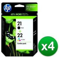 HP 21 Black & 22 Tri-color 2 Original Ink Cartridges (C9509FN) (4-Pack)