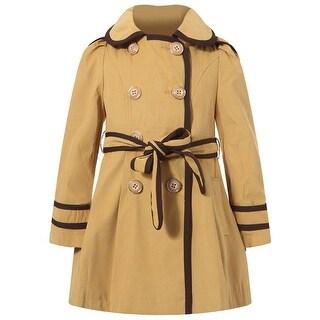 Richie House Girls Yellow Brown Trim Flared Coat 8-10