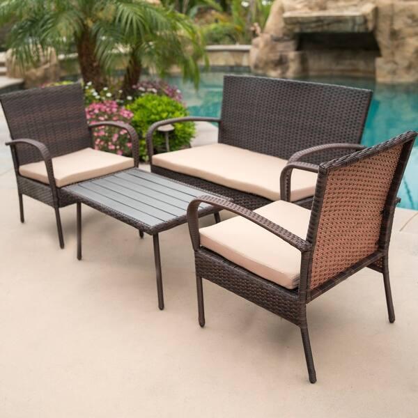 Belleze 4 Piece Outdoor Patio Wicker Set All Weather