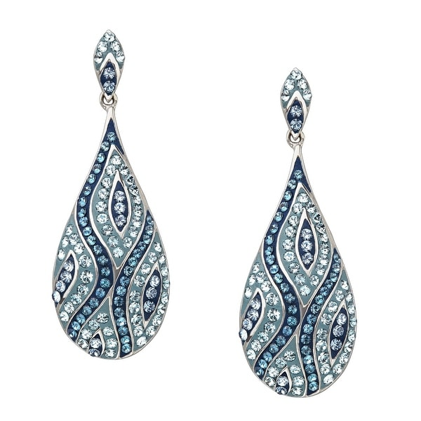 Crystaluxe Teardrop Earrings with Storm & Mist Swarovski Crystals in Sterling Silver - Blue