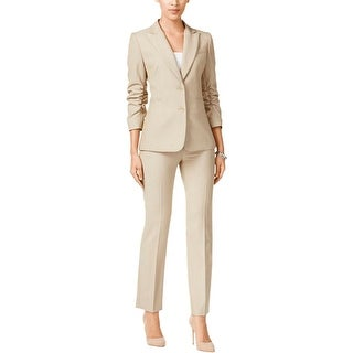 Tahari ASL Womens Pant Suit Ruched 3/4 Sleeves