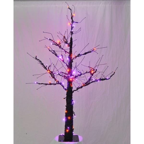 Christmas at Winterland WL-DTR-06-LPU/OR 6 Foot Pre-Lit Halloween Tree with Purple and Orange LED Lights - Purple/Orange - N/A