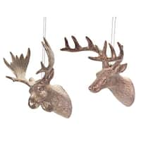 "Pack of 24 Bronze-Tone Glittered Deer and Moose Head Christmas Ornaments 5"" - GOLD"